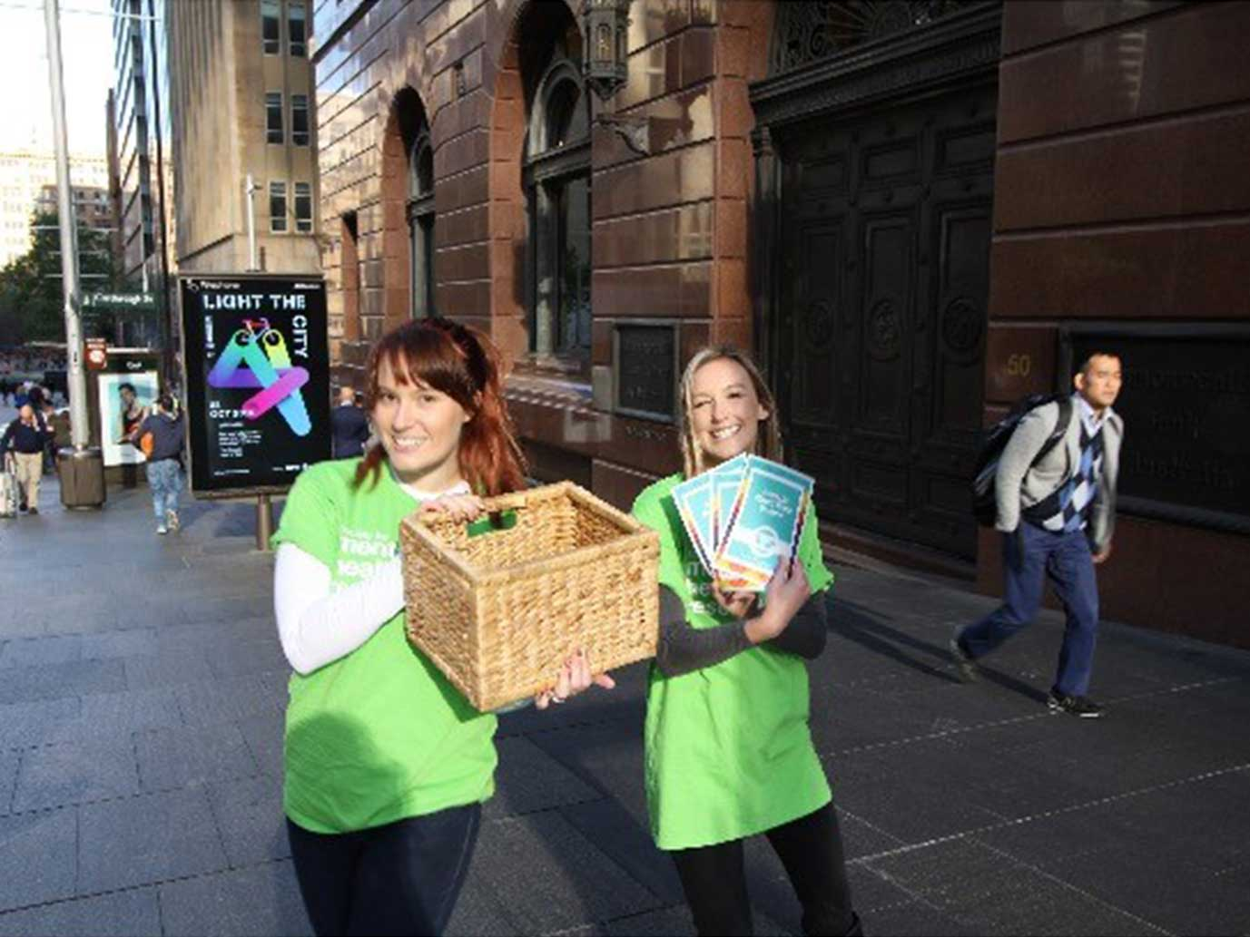 Mental Health Week – 2016 - To mark Mental Health Week and build awareness of SMHR, Louise Birrell, Katrina Prior, Louise Thornton and Emily Stockings spent a morning in Martin Place in Sydney's CBD. Wearing SMHR t-shirts, they handed out over 100 SMHR promotional flyers and apples with promotional stickers to commuters and passer-bys.