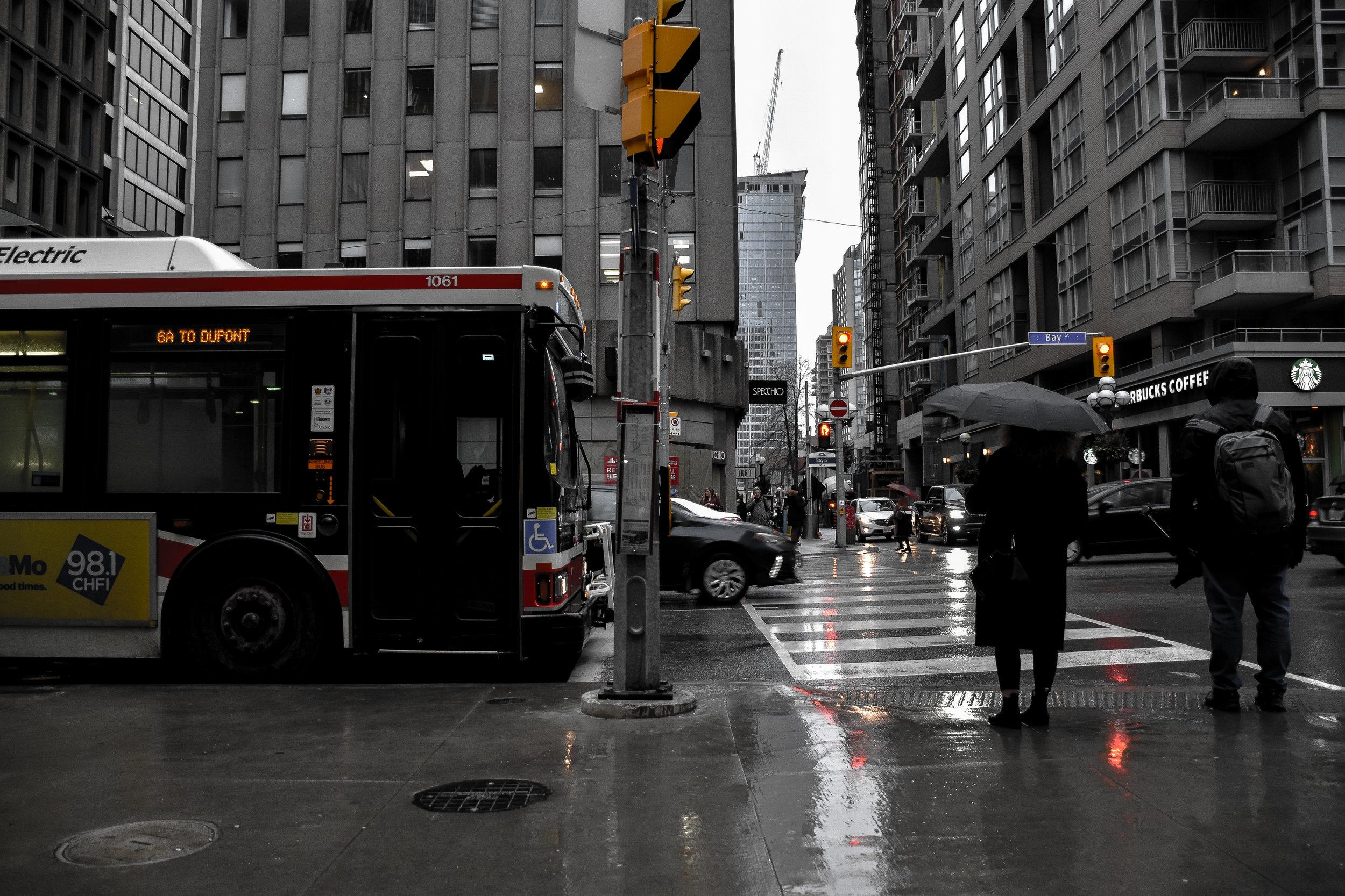 pouring rain downtown toronto