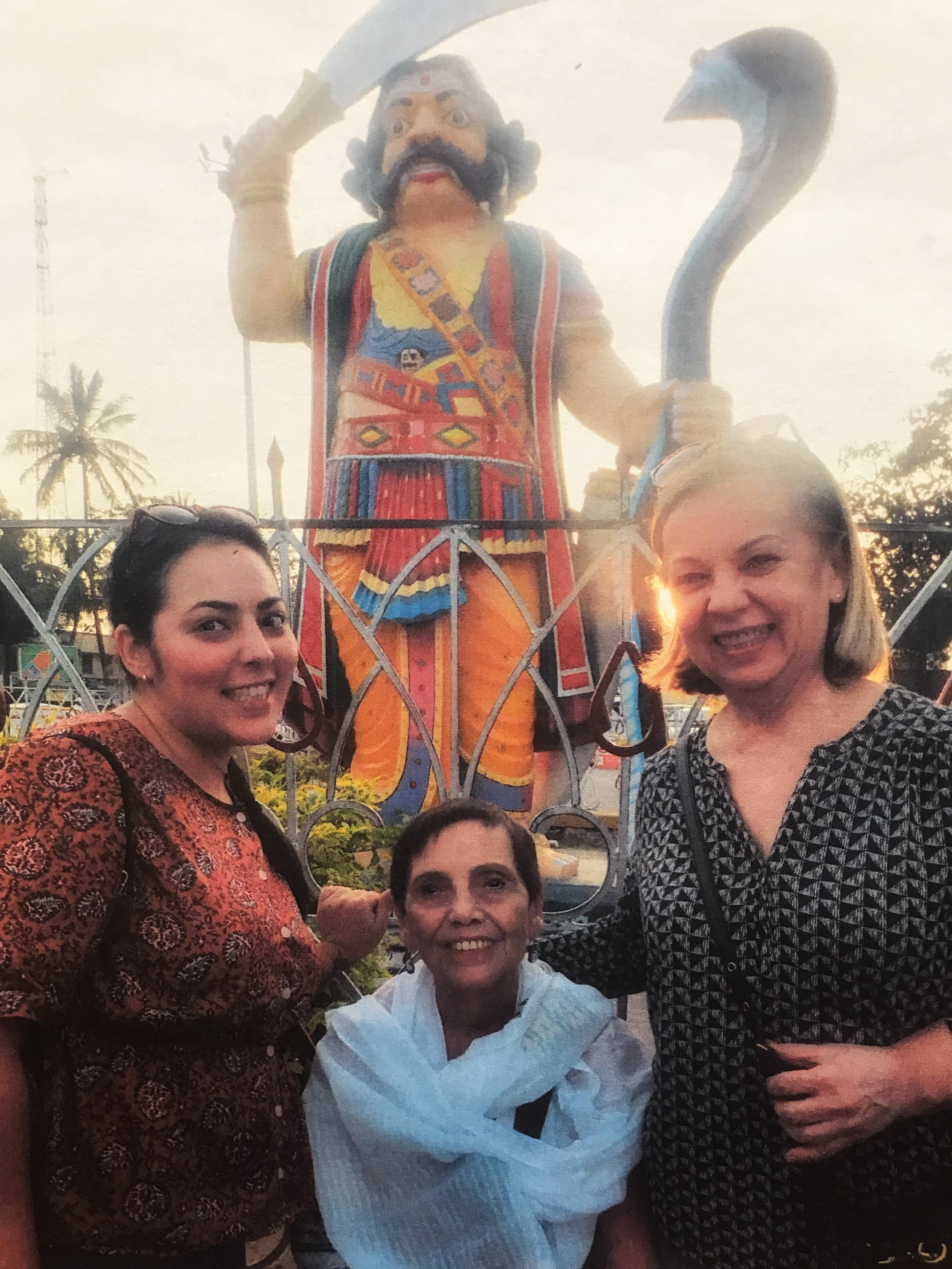 Ramona (left) with her grandmother and mother in India (2018).