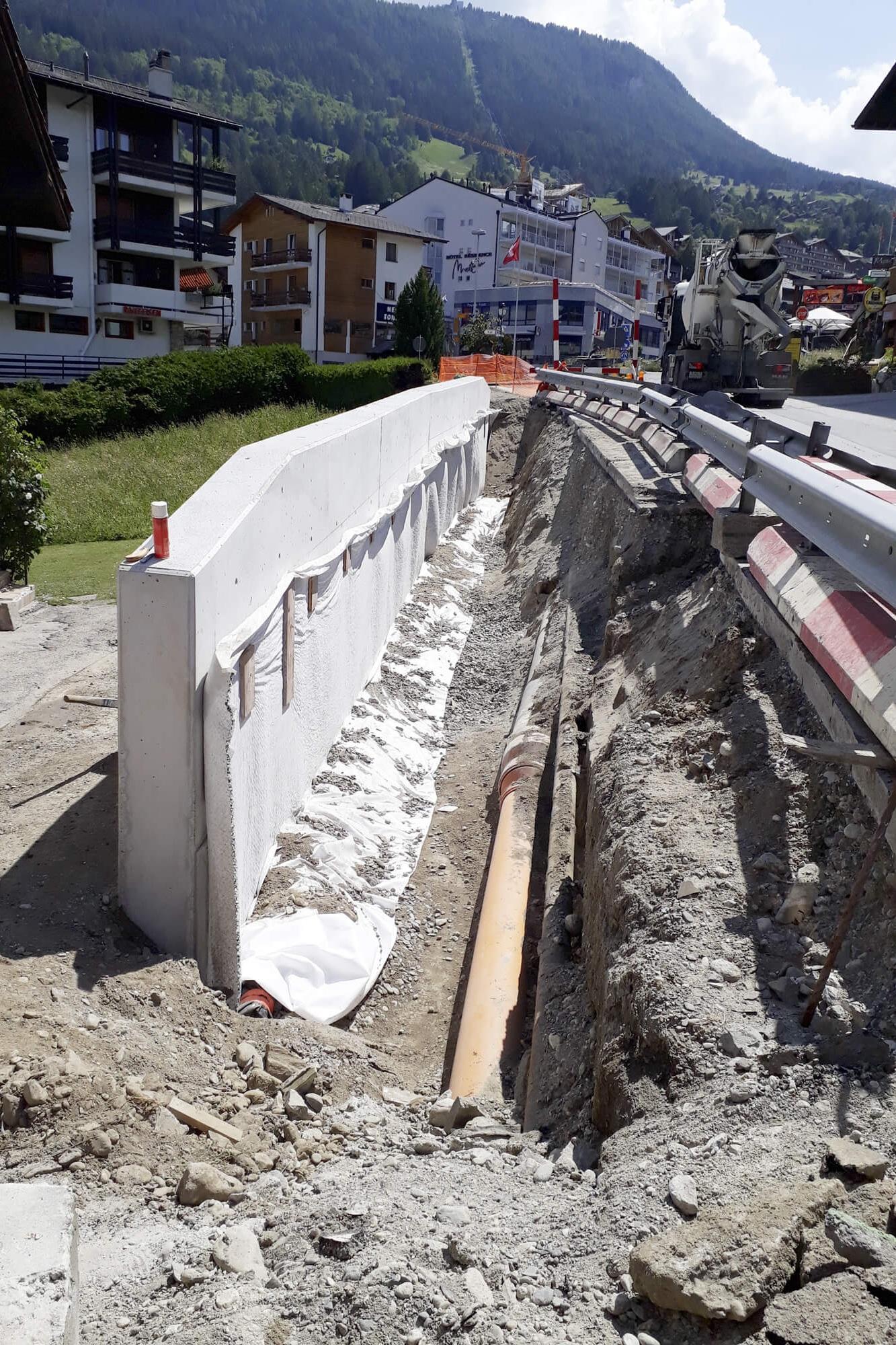 Mur de soutènement aval