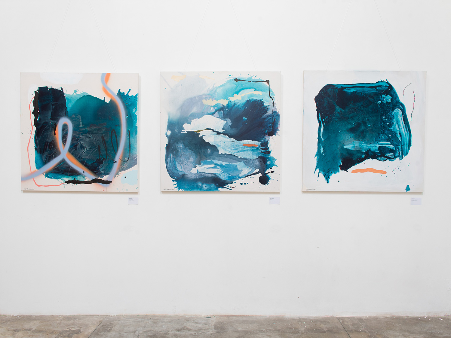 Abstract paintings by abstract expressionist painter Ordo Amoris during exhibition called wu-wei in Bali