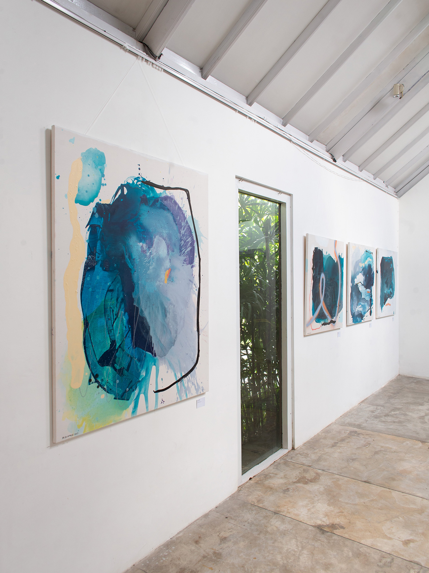 Abstract artworks by abstract expressionist painter Ordo Amoris during her exhibition called wu-wei in Ubud, Bali