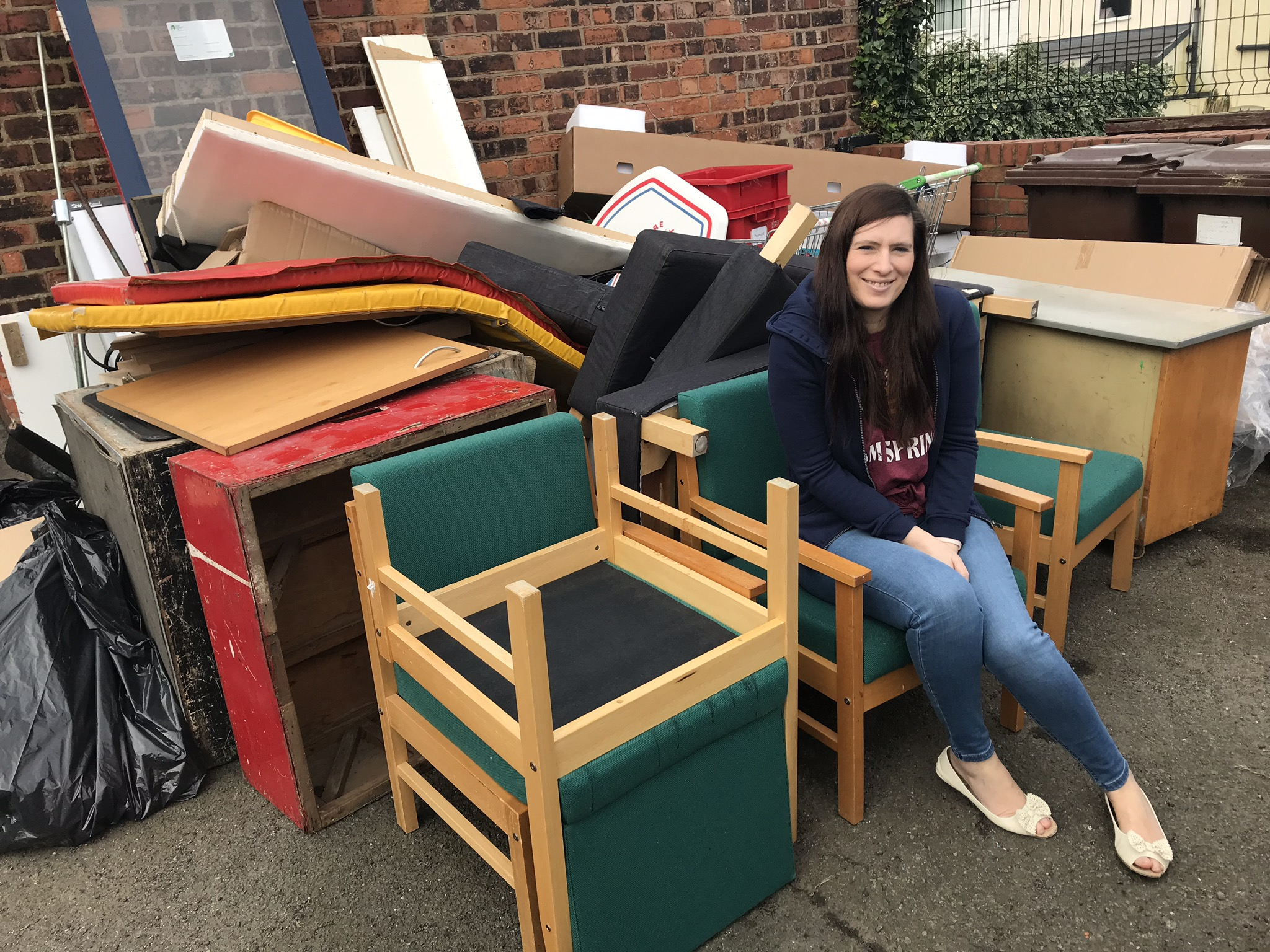 At our local primary school rescuing solid beech chairs that were on their way to the tip.