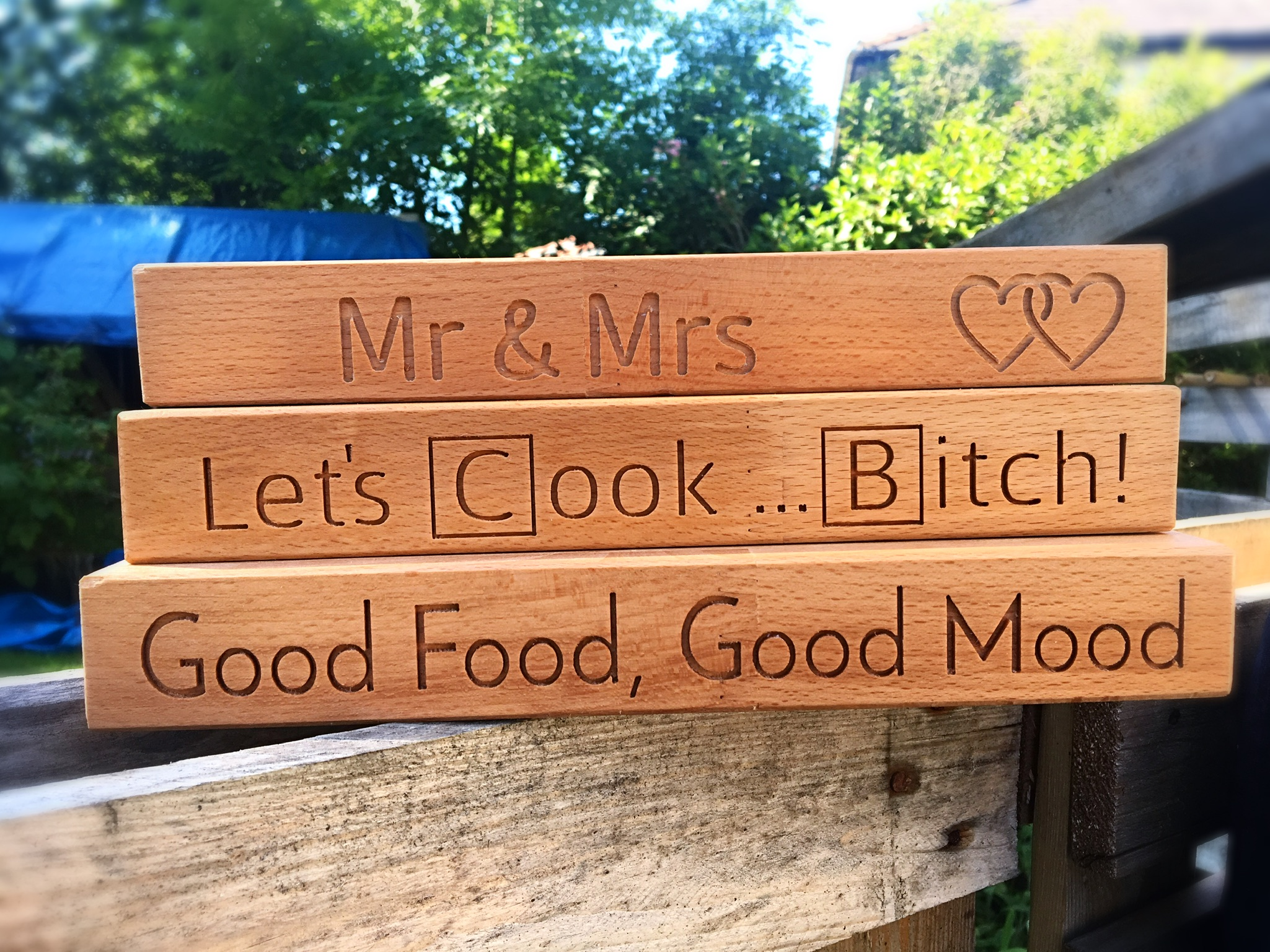 Here is just a small example of the variety of engraving styles and ideas that we have completed for customers along the way. We can engrave a variety of images, logos, brands and text on our chopping boards and majority of other products, as well as bespoke items. Birthday messages, special quotes, meaningful lyrics, coordinates of first meeting places, wedding and anniversary dates - you name it we can engrave it!   Enquire today  so that we can help to make your ideas a reality!