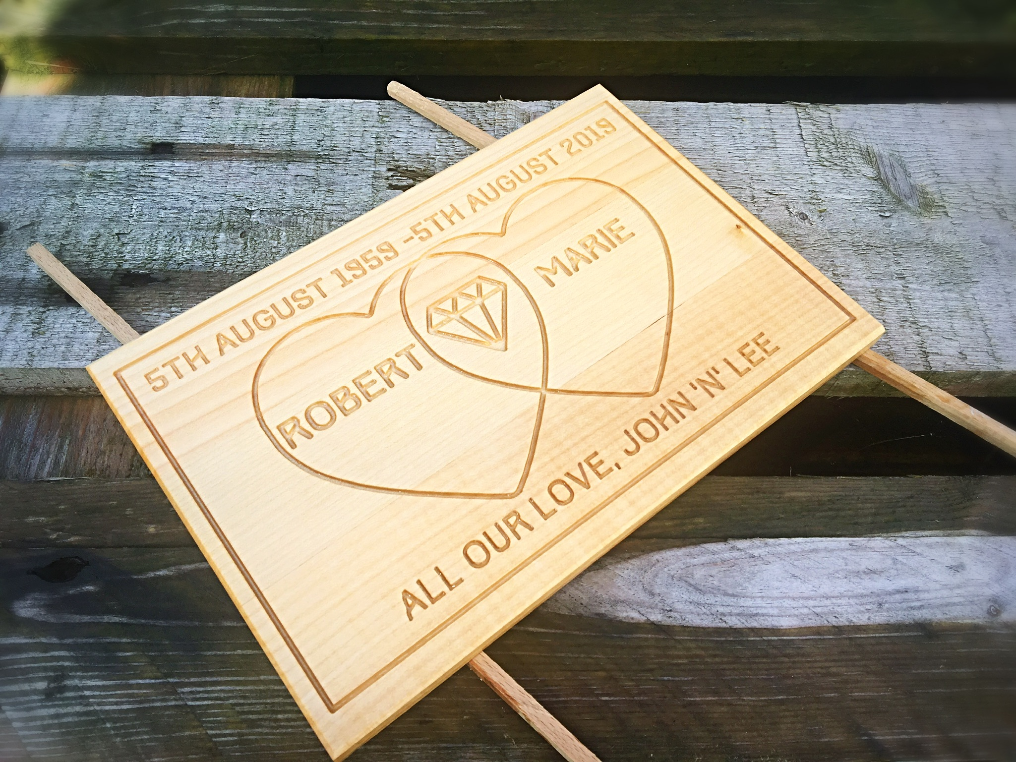 This is a plaque, custom made from solid beech for a wonderful couple who wanted something unique for their friends diamond wedding anniversary. We were delighted to have been asked to create such a meaningful gift. They absolutely love it and massive congratulations to Robert and Marie. 60 years is such an amazing achievement!