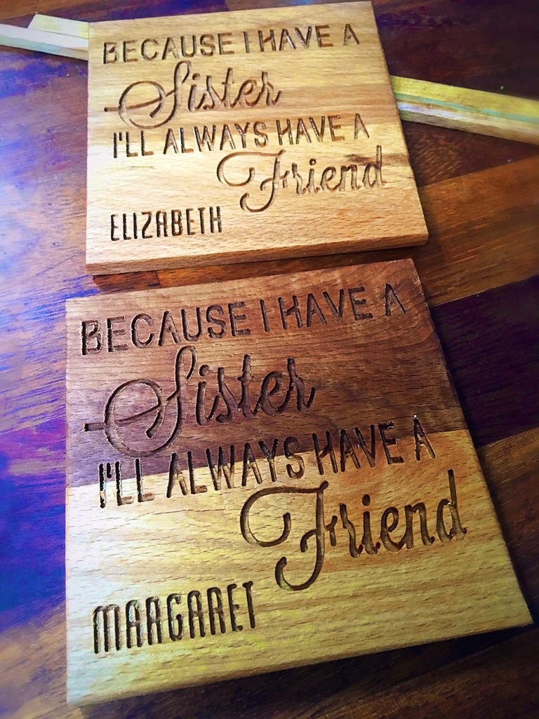 These coasters were custom made for a lovely lady who was attending a big family get together and wanted something special, unique and personalised for her two sisters.  These are made from solid walnut and the colour is spectacular and will only deepen and mature over time.