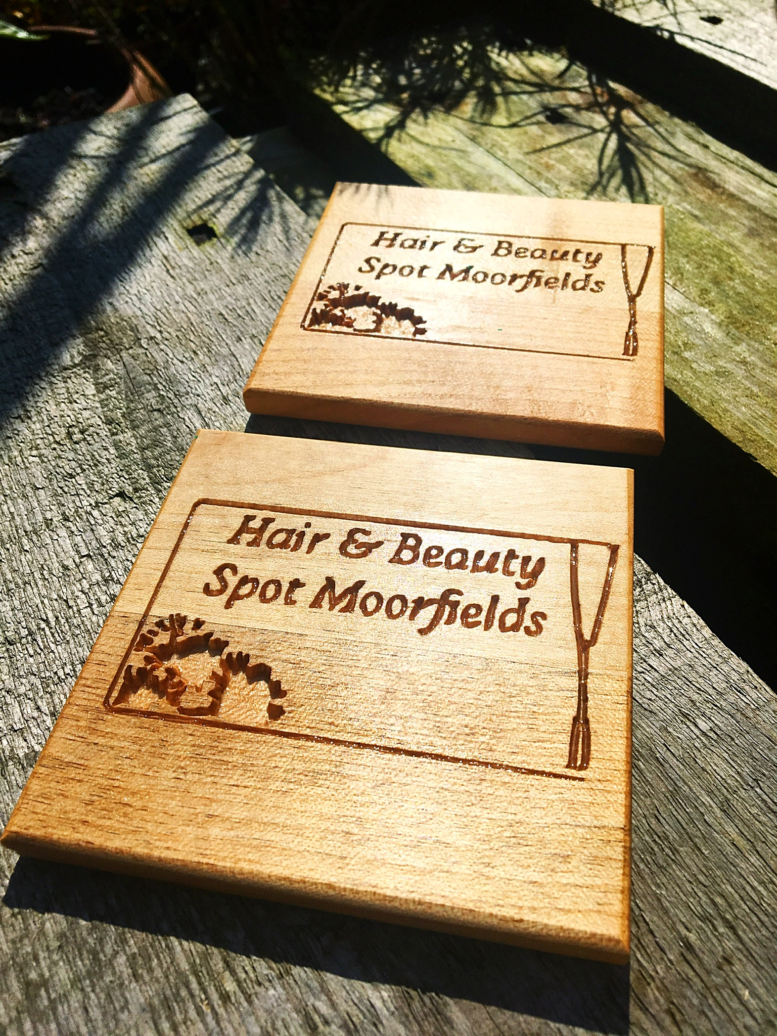Fancy a spot of pampering? Look no further than Moorfireld's Hair & Beauty Spot Moorfields. I loved working with Linda to create these business logo solid beech coasters for her salon.  Check out whats on offer on their  Facebook page .