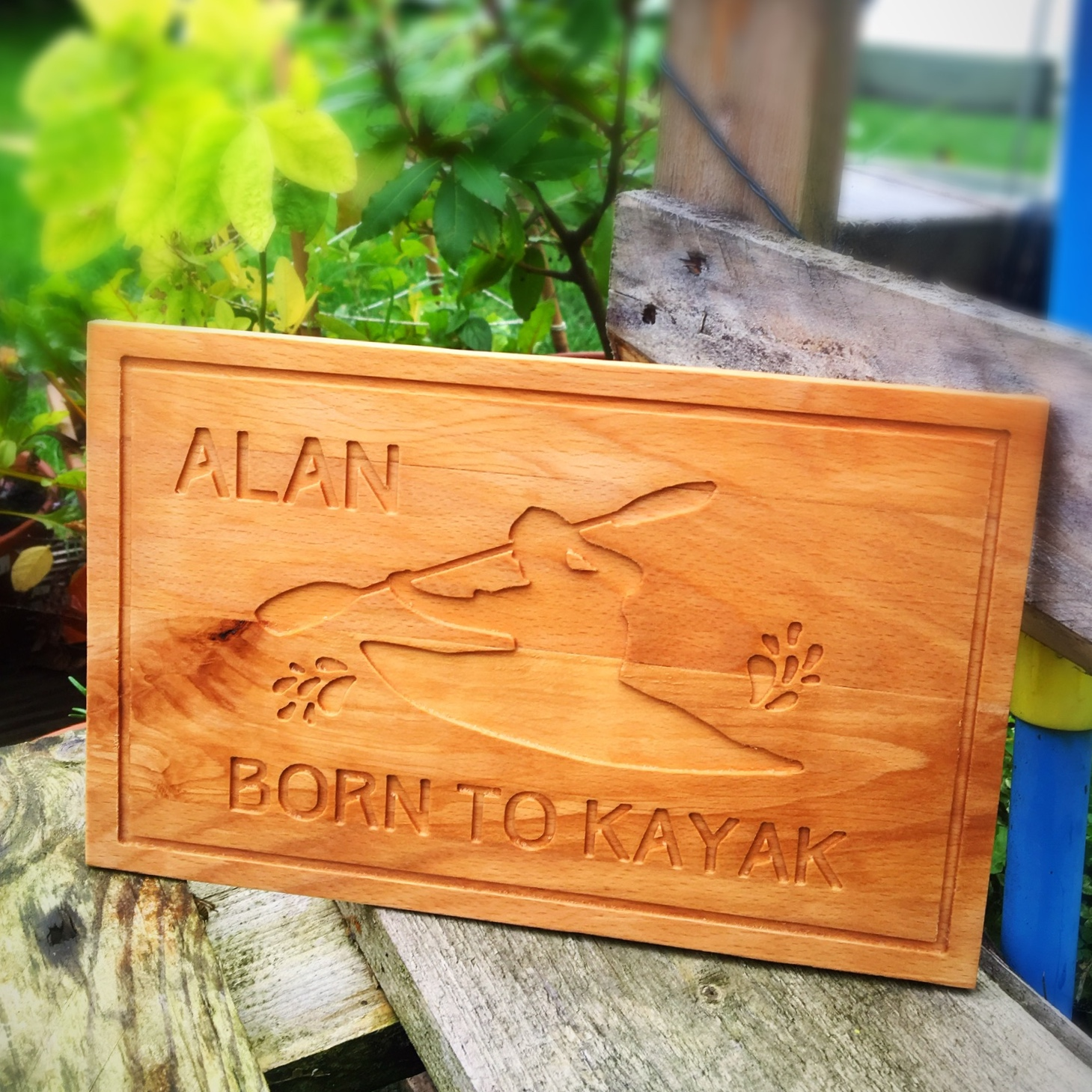 Our lovely customer Jill, wanted something a little different for her outdoor adventurer husband Alan, so she asked us to create a plaque dedicated to his love of kayaking!  Made from solid beech this will take pride of place in their home.