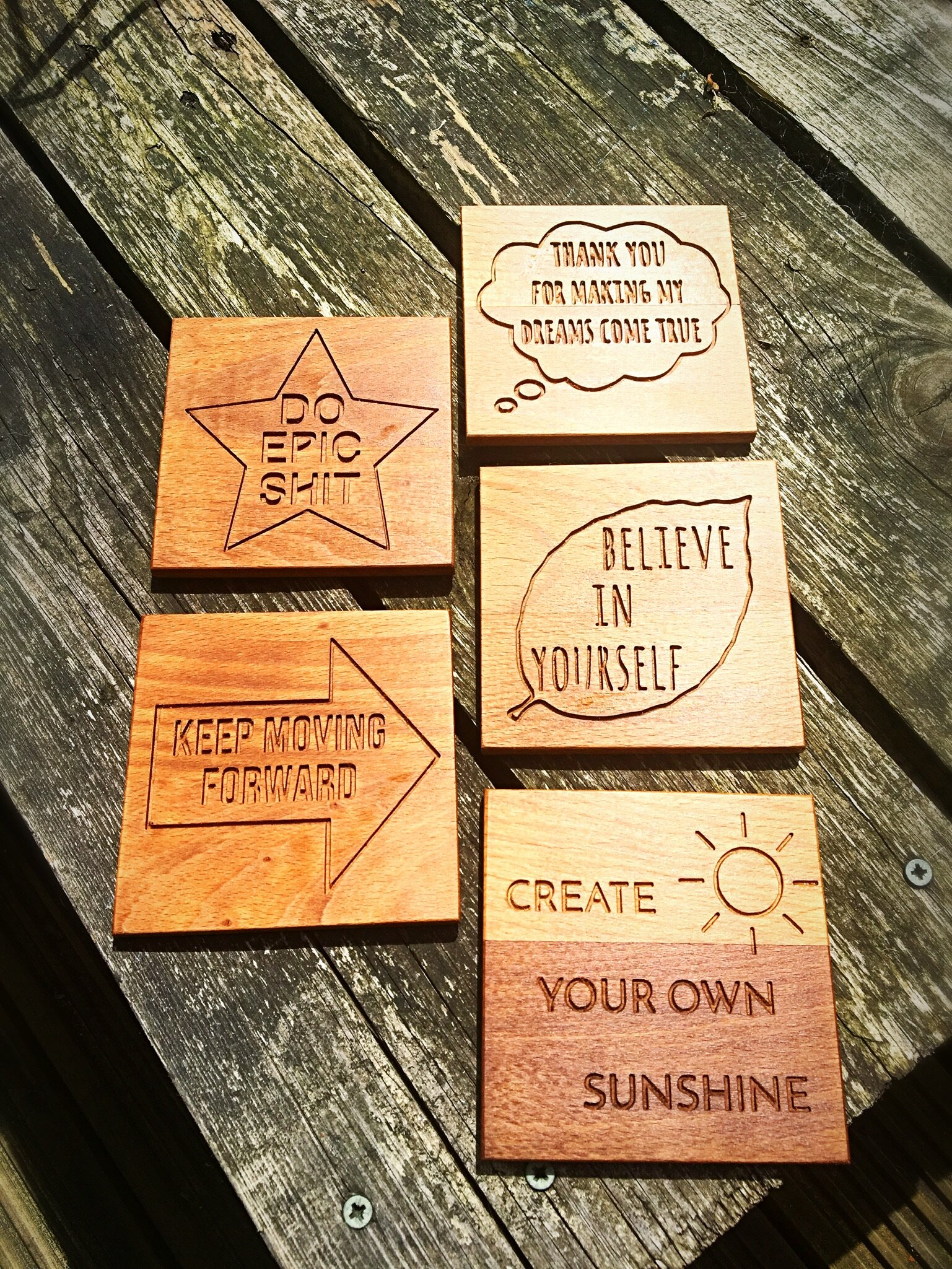 Inspirational Quote Coasters - Solid Walnut