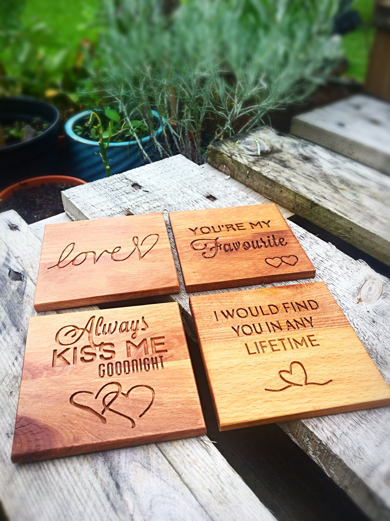 Love Quotes Coasters - Solid Walnut