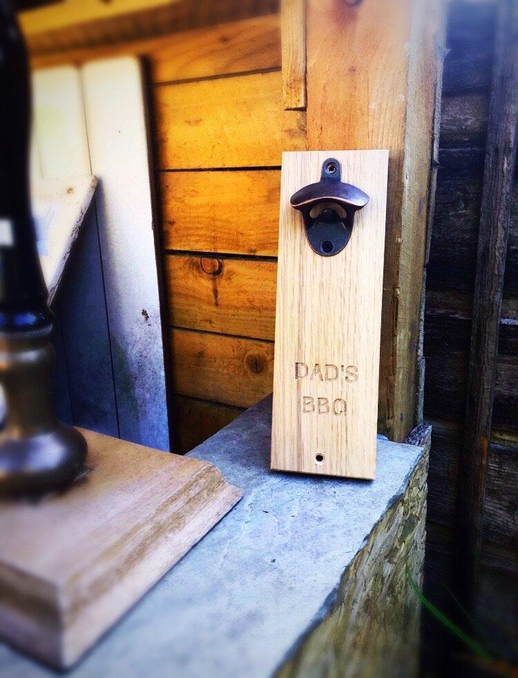Solid Oak Wall Mounted Bottle Opener
