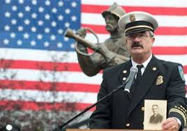 Retired Battalion Chief Jeff Allen speaking about his grandfather at the 2015 Memorial Ceremony.