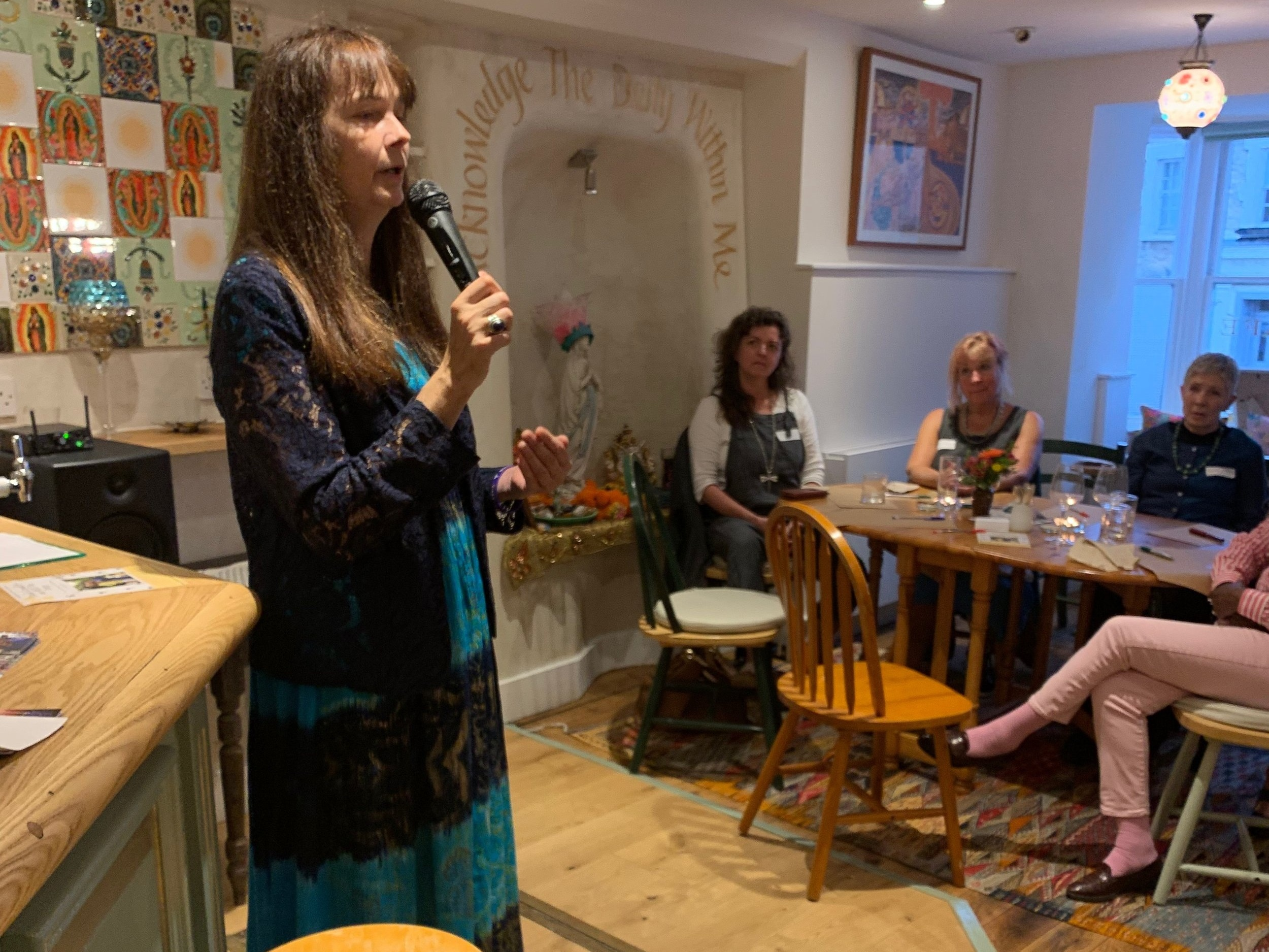 """Jo Berry telling her inspiring story about her charity """"Building Bridges""""."""
