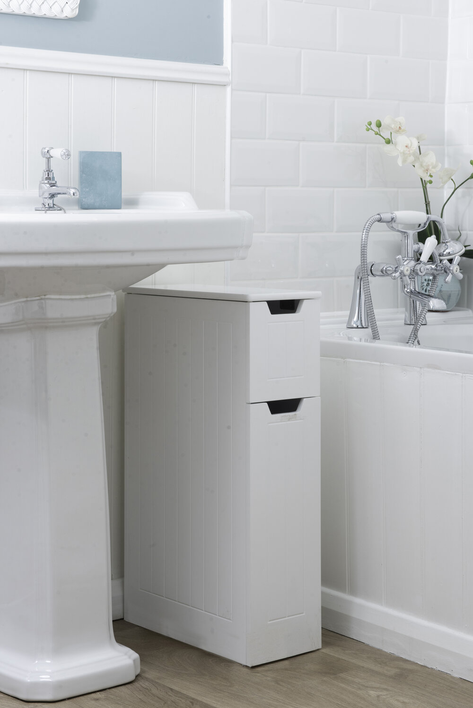 Sennen Super Slim Bathroom Storage Interior White