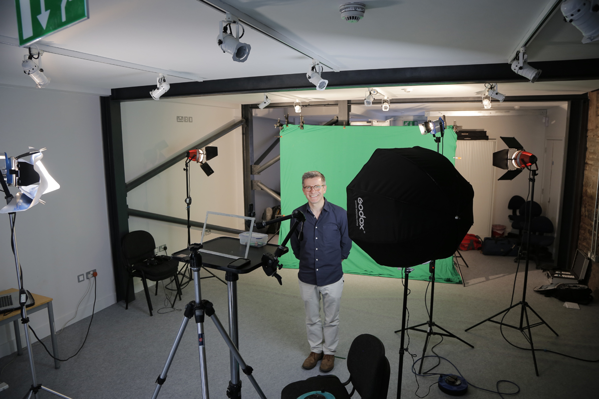 Preparing for green screen filming with Alastair Fuller of Britain Yearly Meeting at Bridgwater's excellent Engine Room.