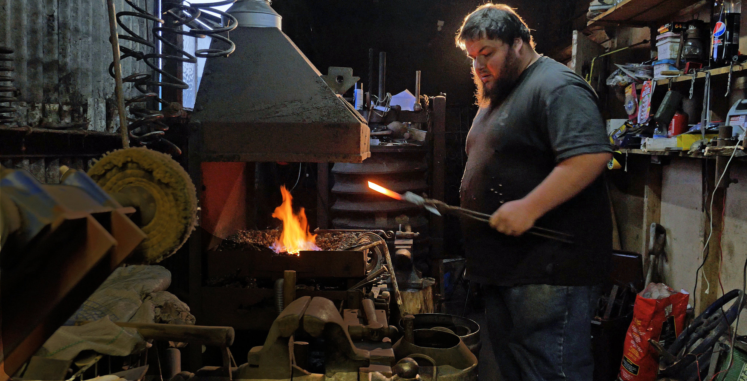 Filming Sam Smith at his forge in Glastonbury.
