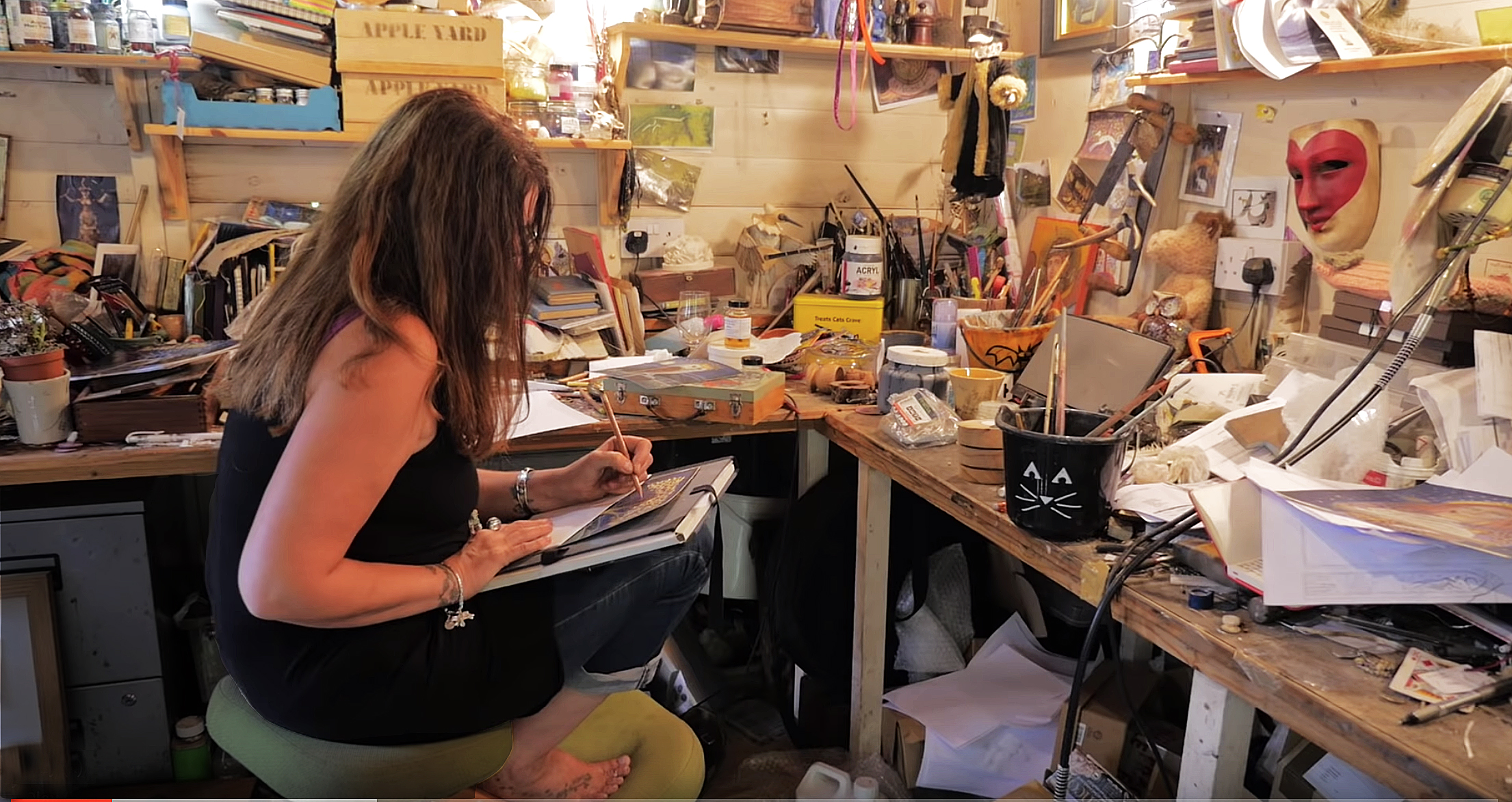 The artist in her studio. Filming the wonderful Hannah Willow in Wiltshire. (1/2)