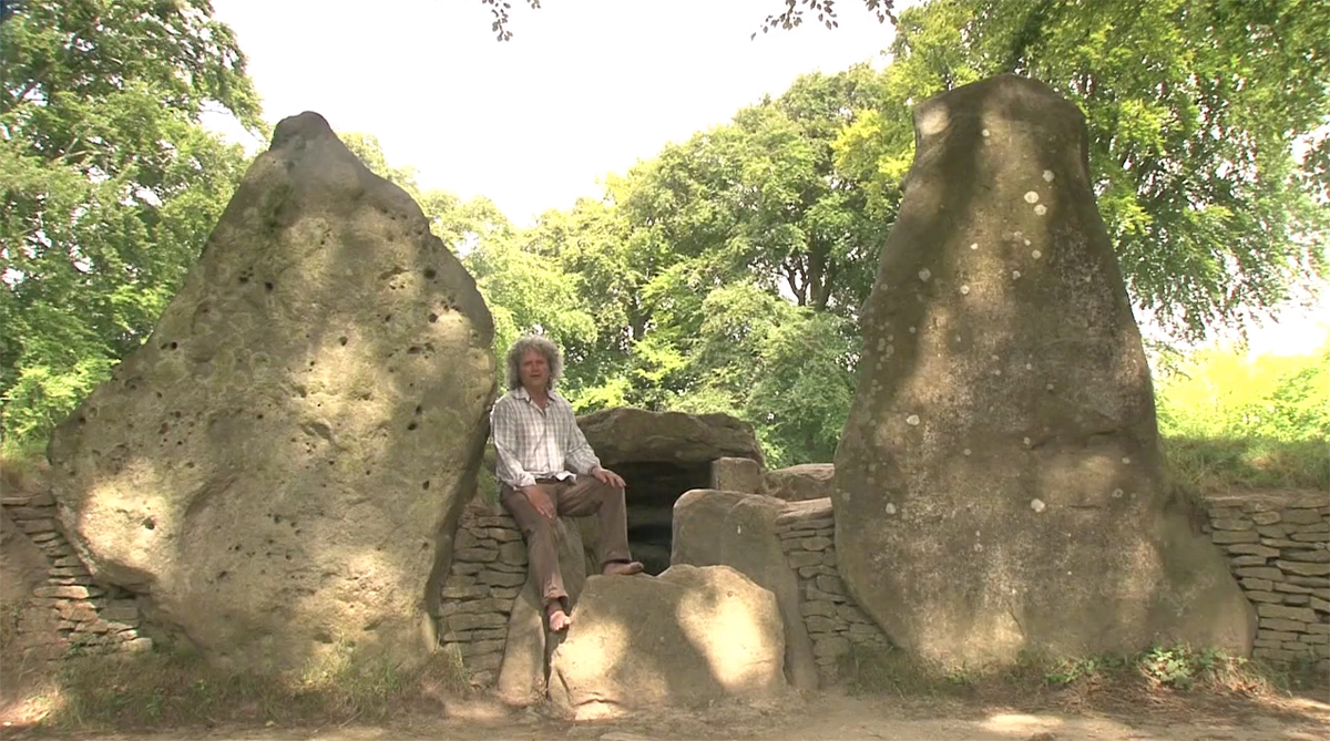 Filming Philip Carr-Gomm of the Order of Bards, Ovates and Druids at Wayland Smithy, Wiltshire