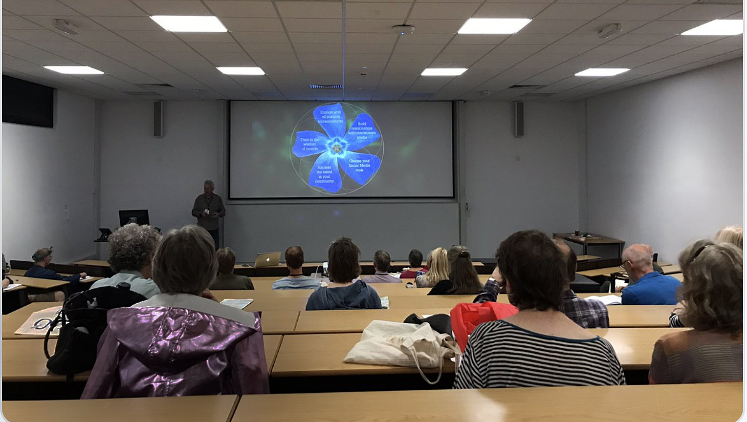 Lecturing at Warwick University on harnessing creativity within a community to effect social change