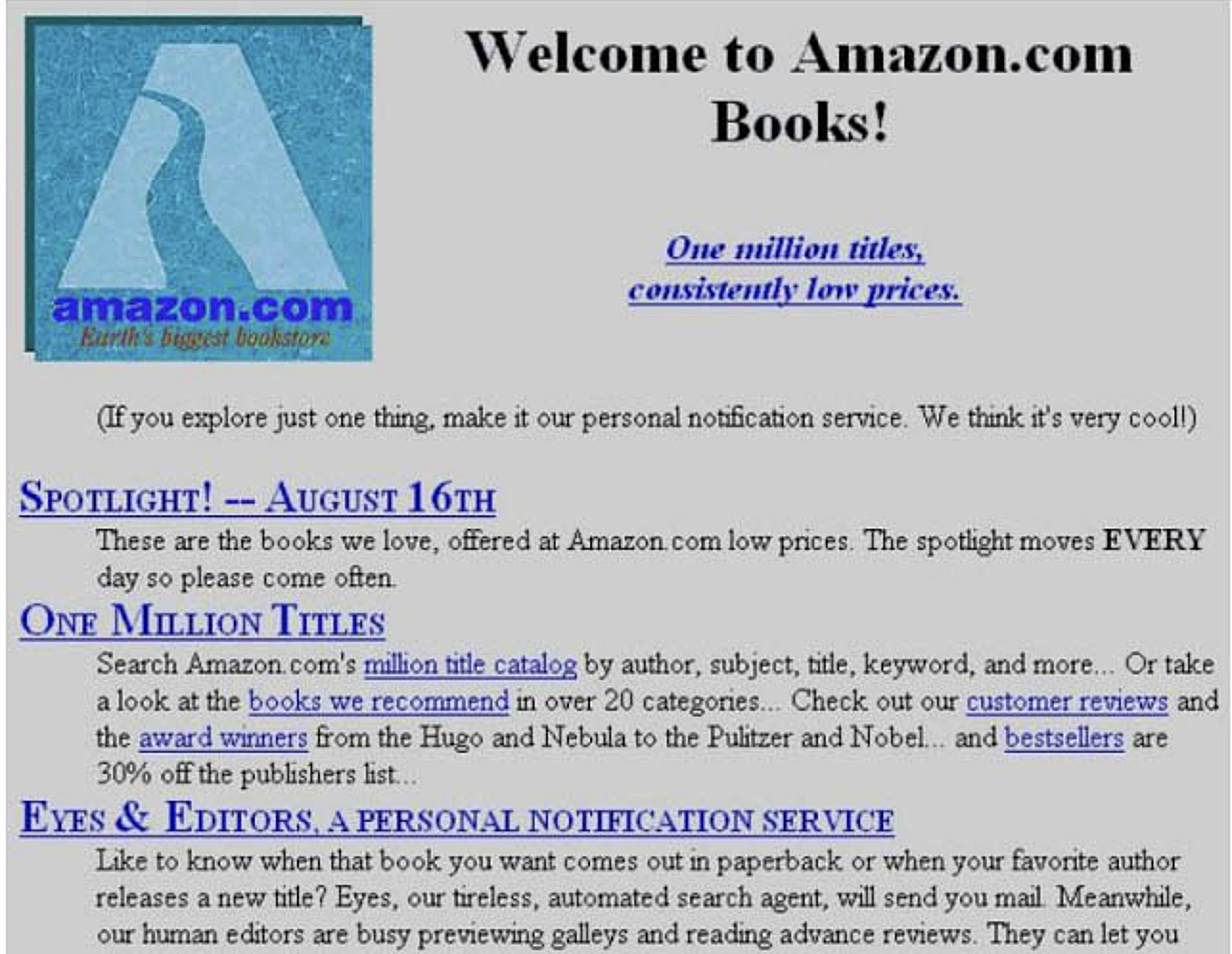 Amazon's first web page. In 1995 it simply sold books.