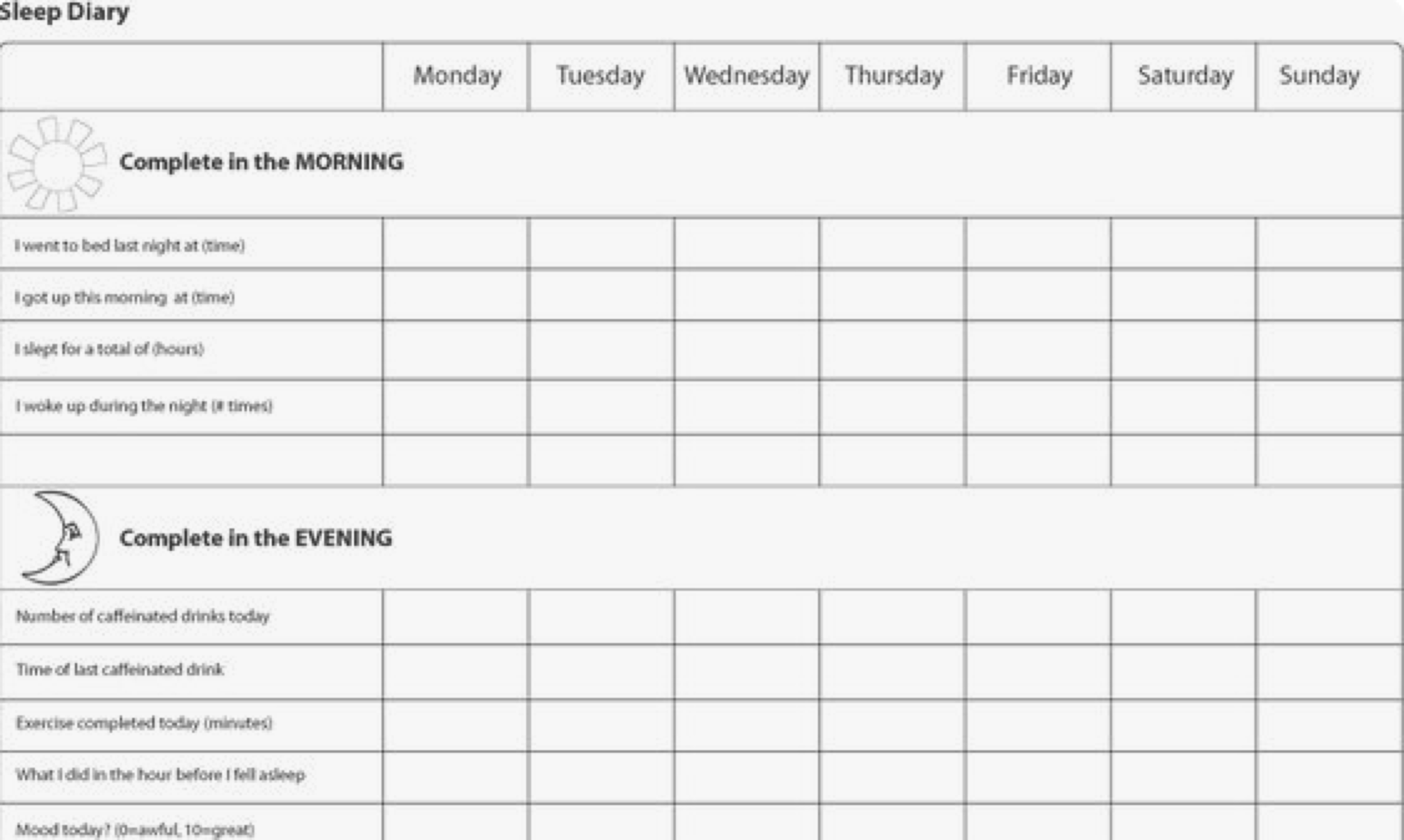 Example of a sleep diary.  Picture from psychologytools.com.