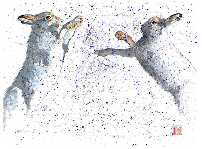 """Boxing Hares 22"""" x 30"""" £300"""