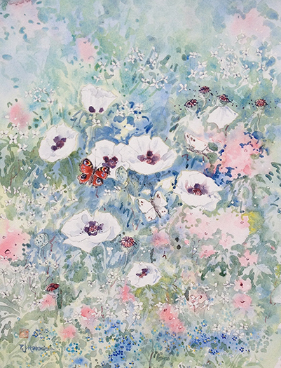 "Peacock butterfly and white poppies 21.5"" x 17"" £250"