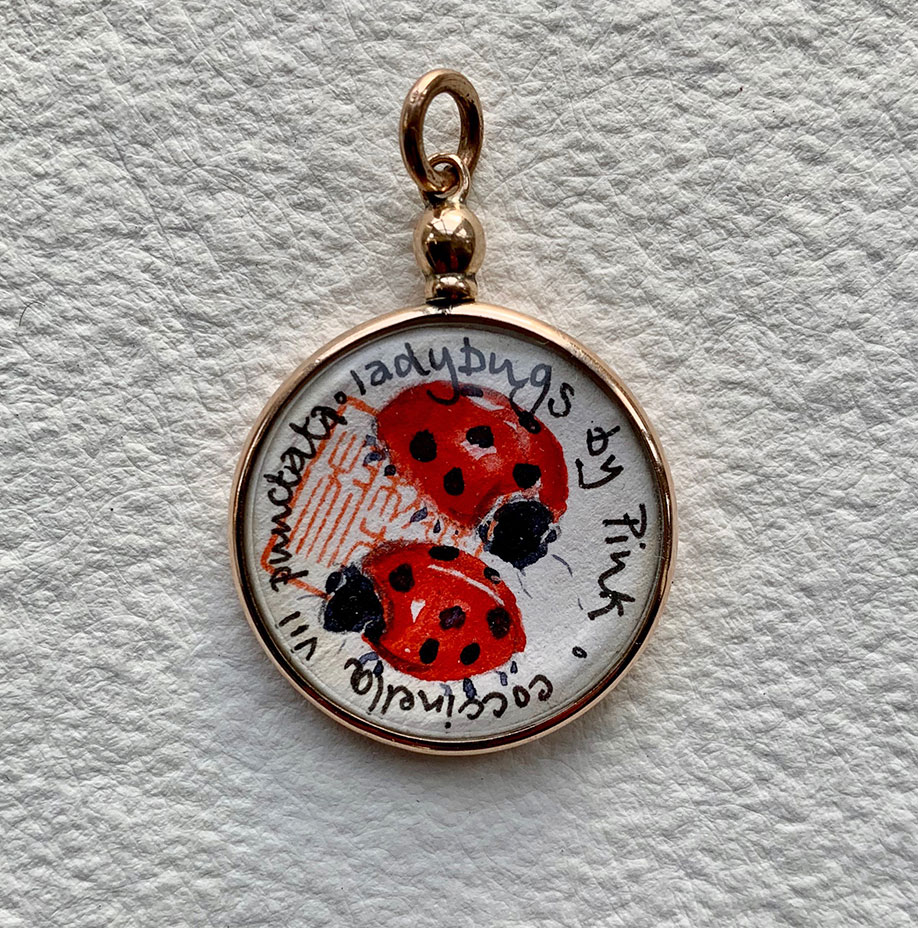 Victorian rose gold locket (hlmk) - Ladybug