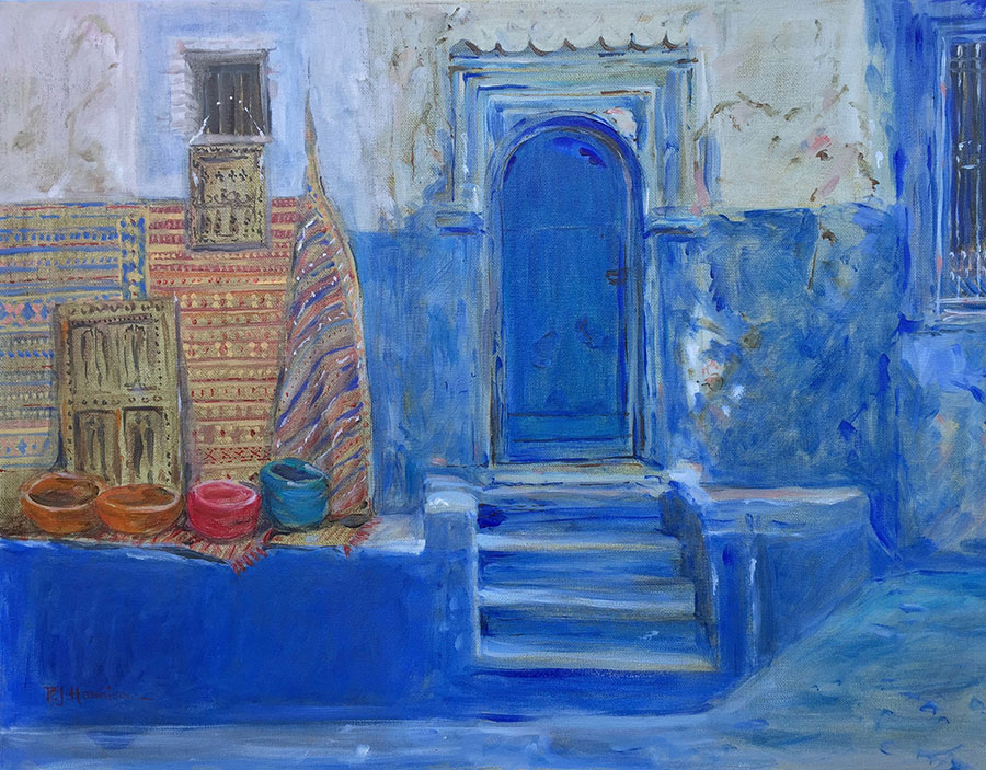 "BLUE DOOR, MOROCCO* oil on canvas 25"" x 32"" (framed)"