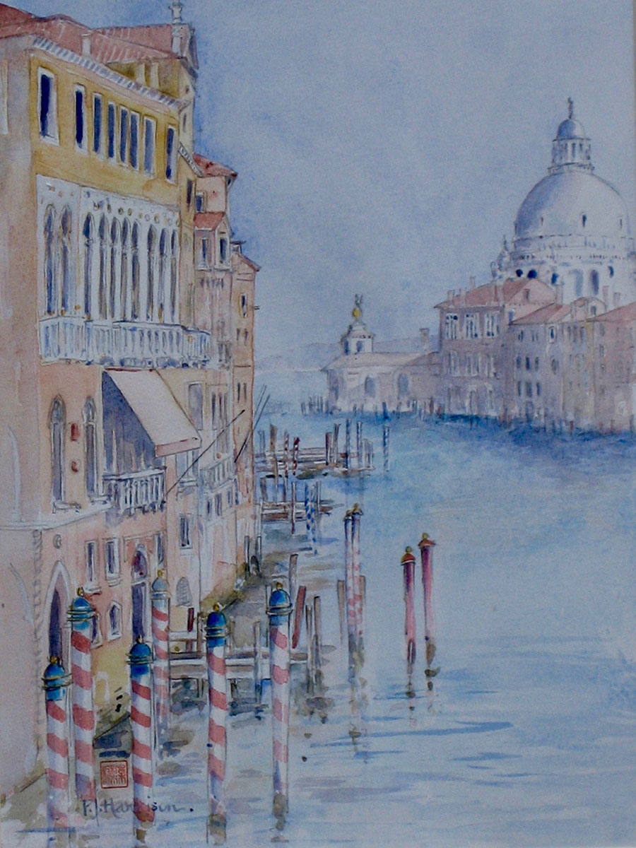 "SANTA MARIA DELLA SALUTE, VENICE watercolour 23"" x 26"" commissioned"