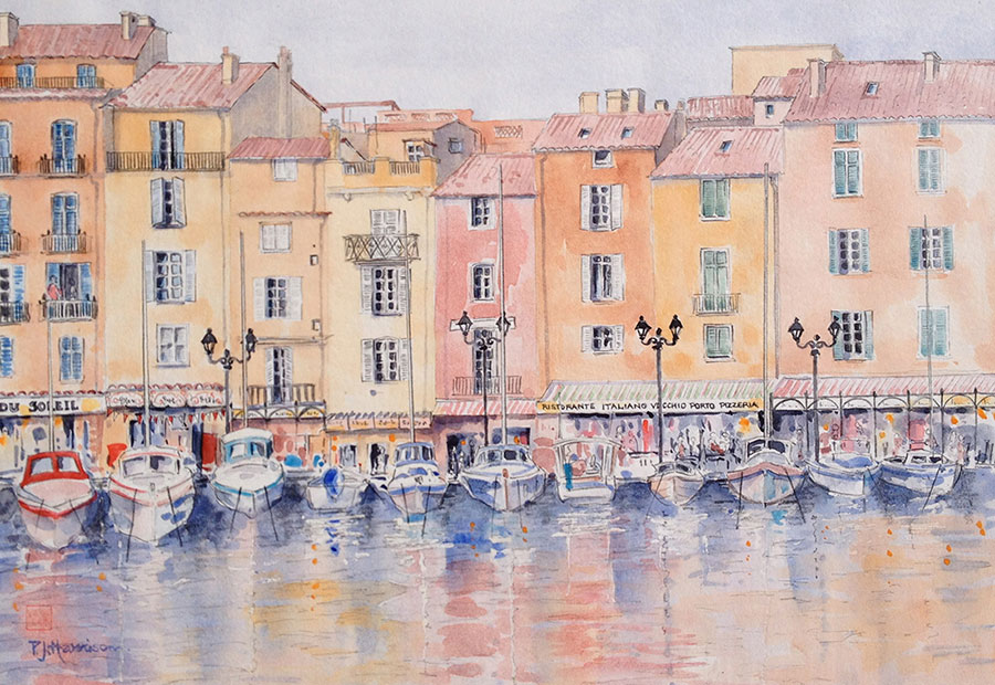 "ST TROPEZ HARBOUR* watercolour 12"" x 17"""