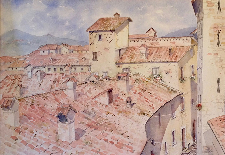 "GUBBIO, ITALY watercolour 36"" x 45"" (framed)"