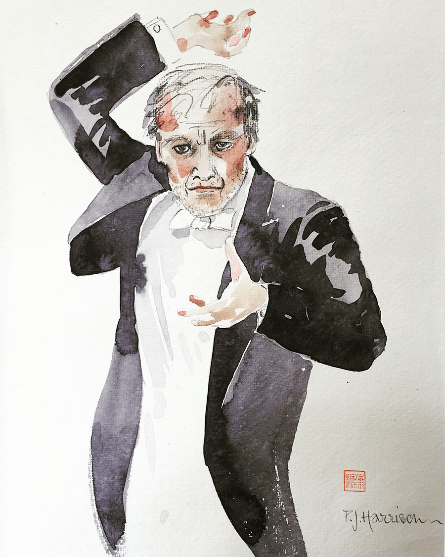 "VALERY GERGIEV watercolour 25"" x 22"" (framed)"