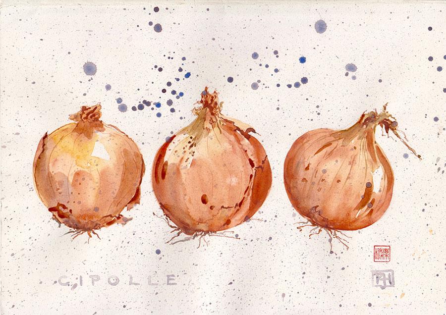 "CIPOLLE watercolour 10"" x 12"" sold"