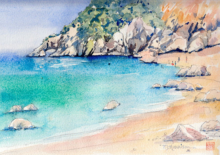 "CALA GOLORITZE, SARDINIA* watercolour 9"" x 12"""