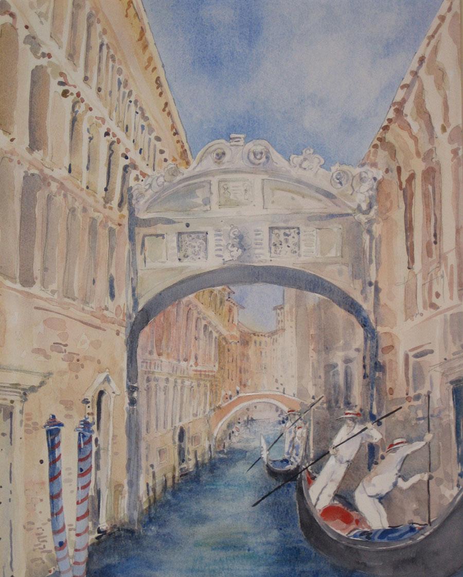 BRIDGE OF SIGHS, VENICE watercolour commissioned