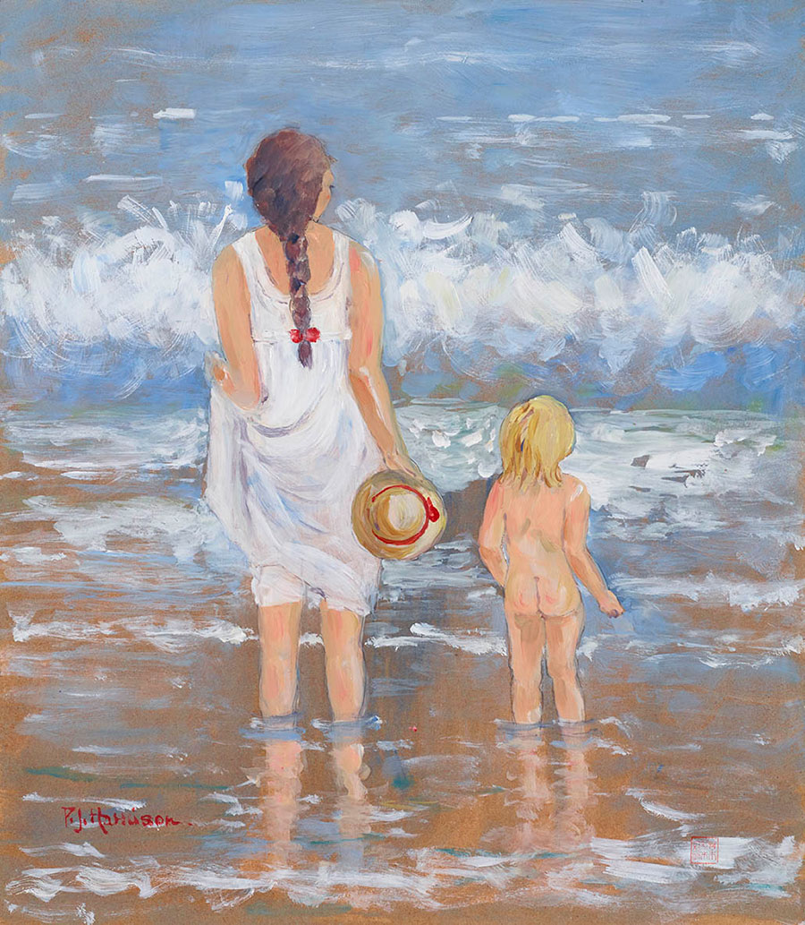 PADDLING* oil on board not for sale