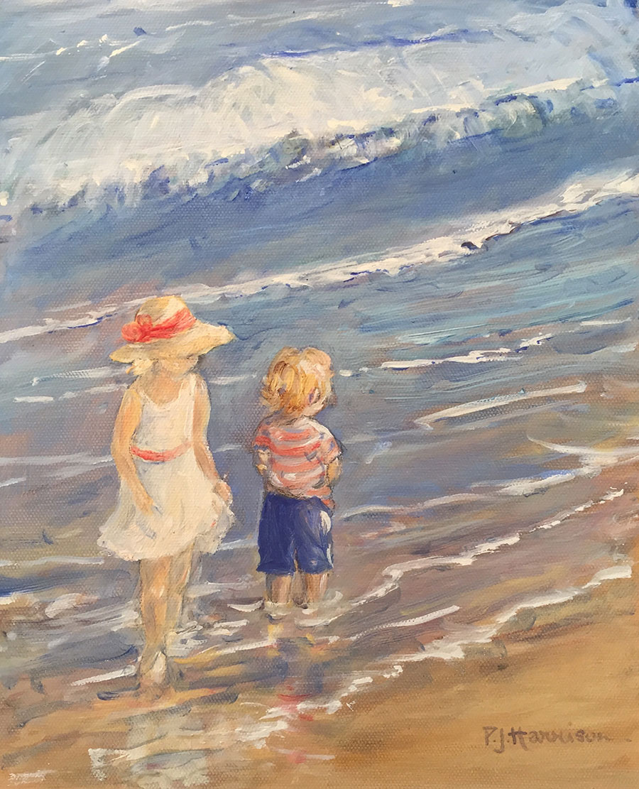 "AT THE SEASIDE* oil on canvas 12"" x 10"" sold"
