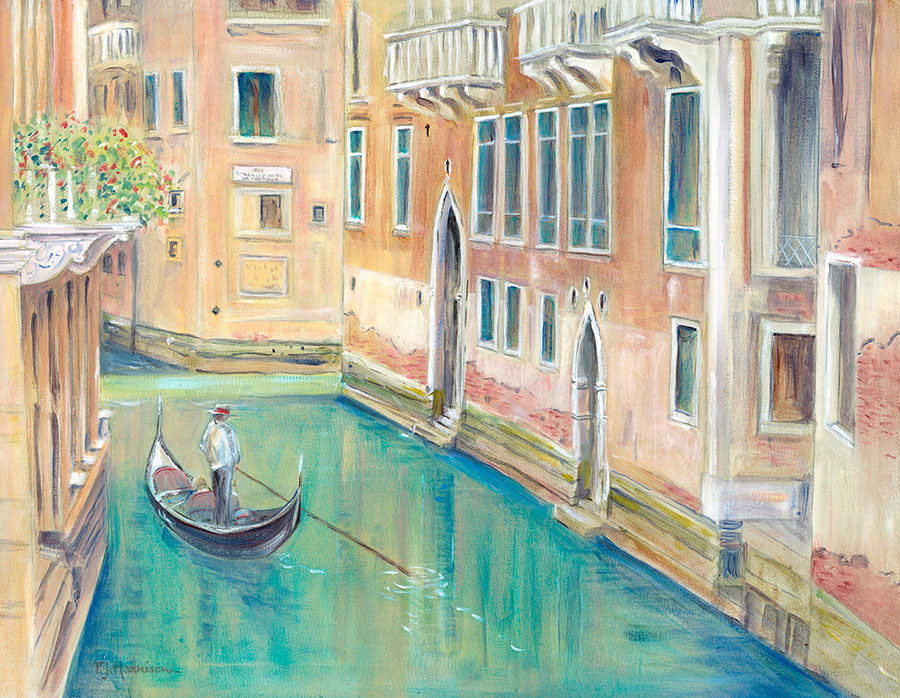 "GONDOLIER, VENICE* oil on canvas 18"" x 24"""