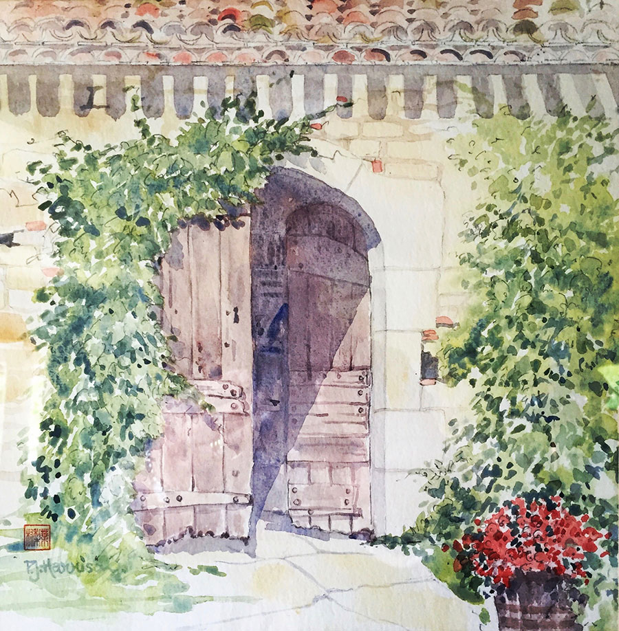 "LE CAILLAU, FRANCE watercolour 11"" x 11"""