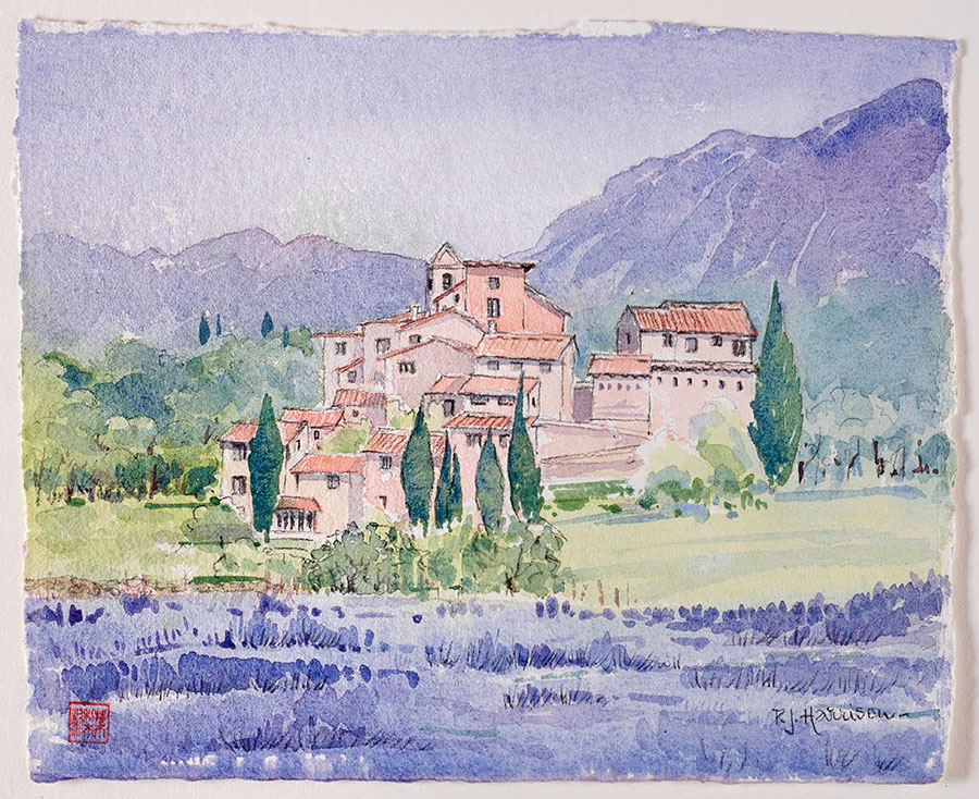 "LAVENDER FIELDS, PROVENCE watercolour 8"" x 10"""
