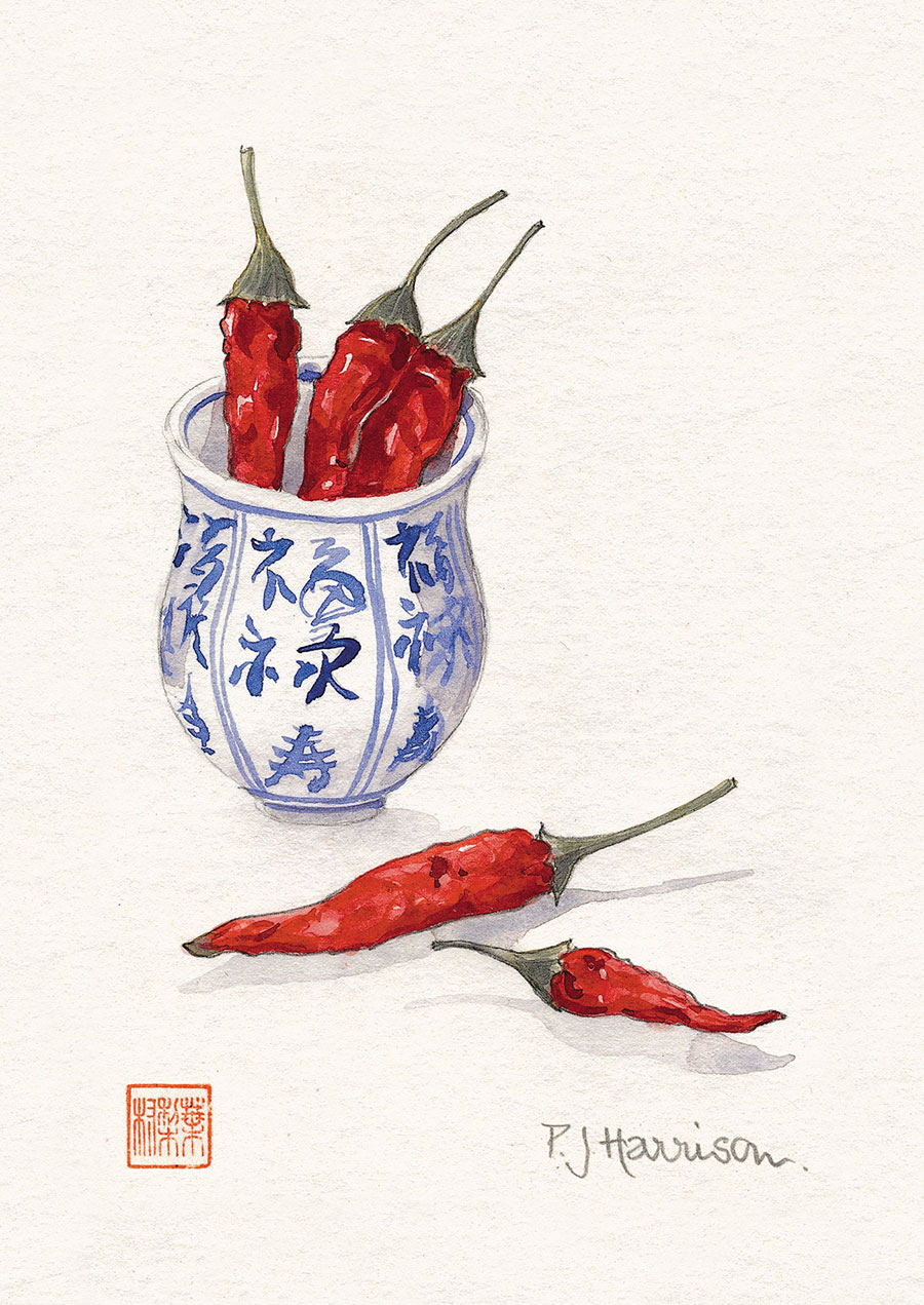 CHILLI PEPPERS IN JAPANESE POT watercolour sold