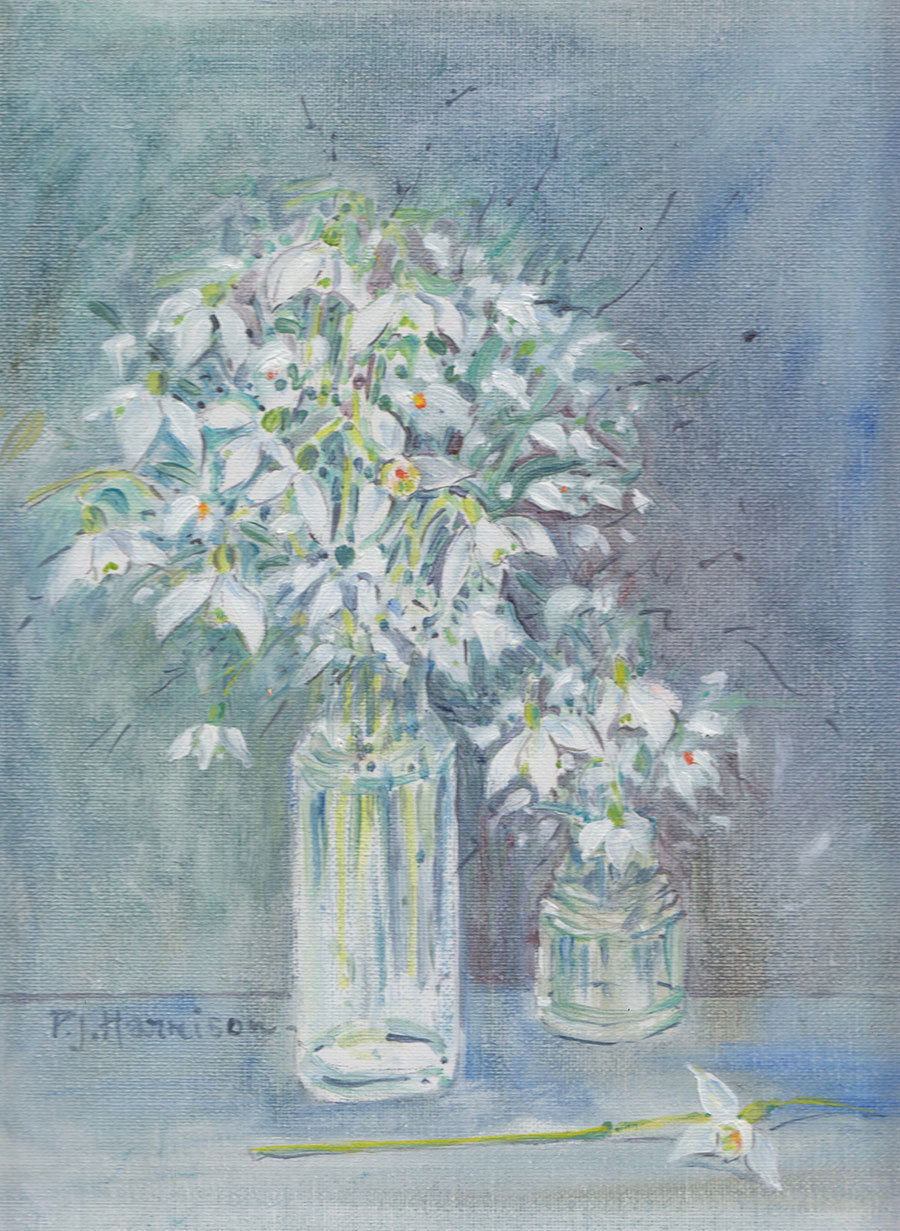 "SNOWDROPS* oil on canvas 18"" x 16"" (framed)"