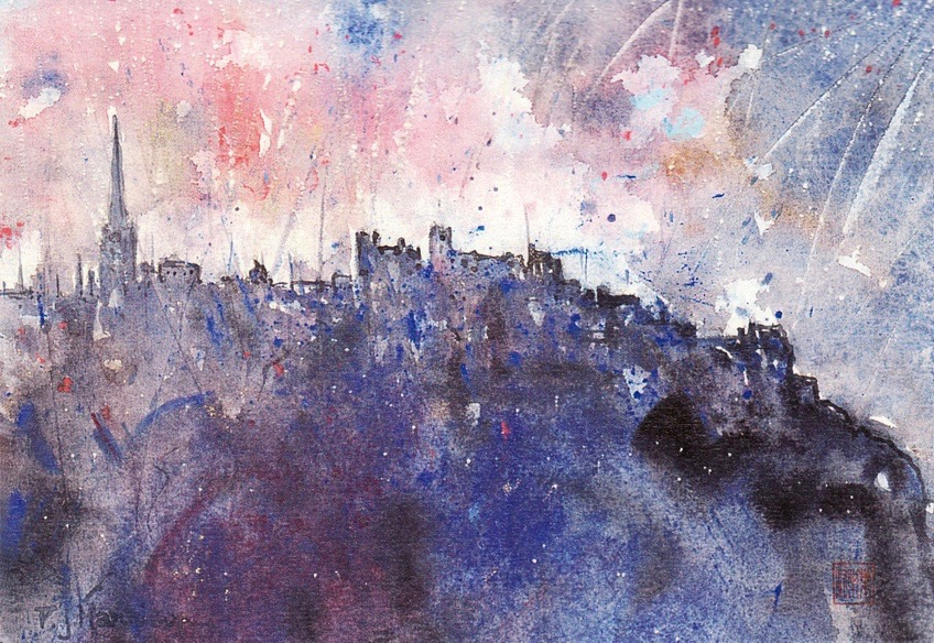 HOGMANAY, EDINBURGH mixed media sold