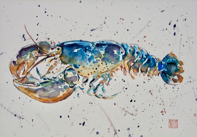 "LOBSTER mixed media 22"" x 30"" sold"