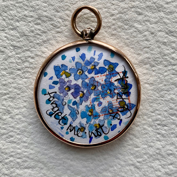 Rose gold locket hlmk Chester 1901 - Forget-me-not