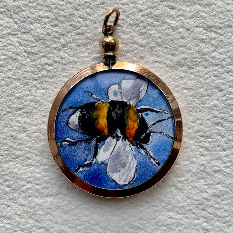 Edwardian rose gold filled locket - Blue bumble bee