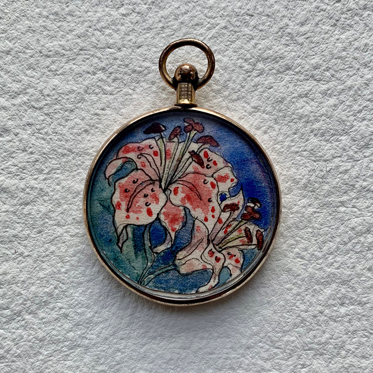 Edwardian 1910 rose rolled gold locket - Lilies