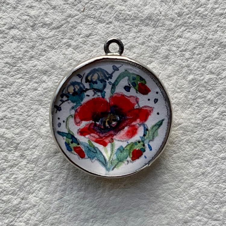 Silver Victorian locket hlmk Birmingham 1898 - Poppy