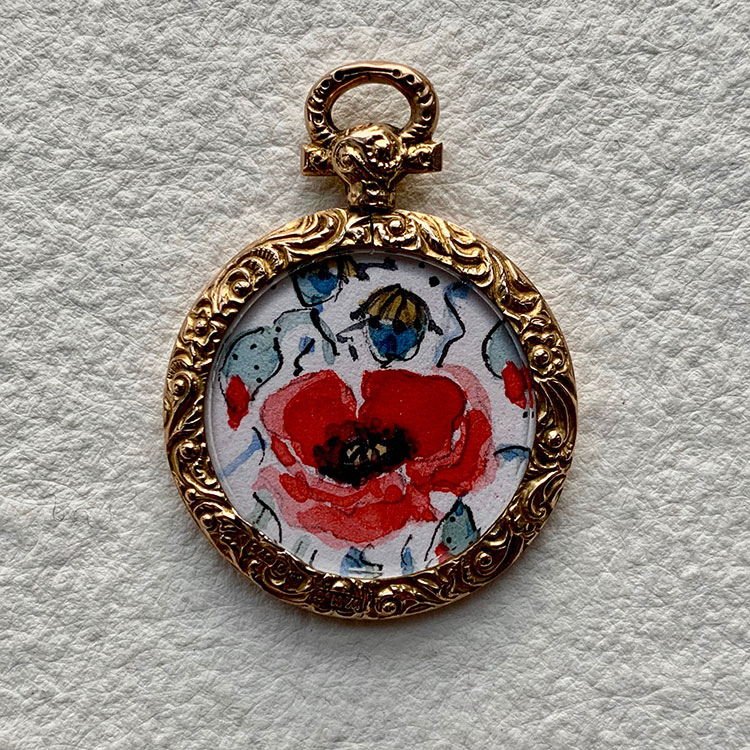 Edwardian 9ct rose gold locket hlmk 1906 Chester - Poppy